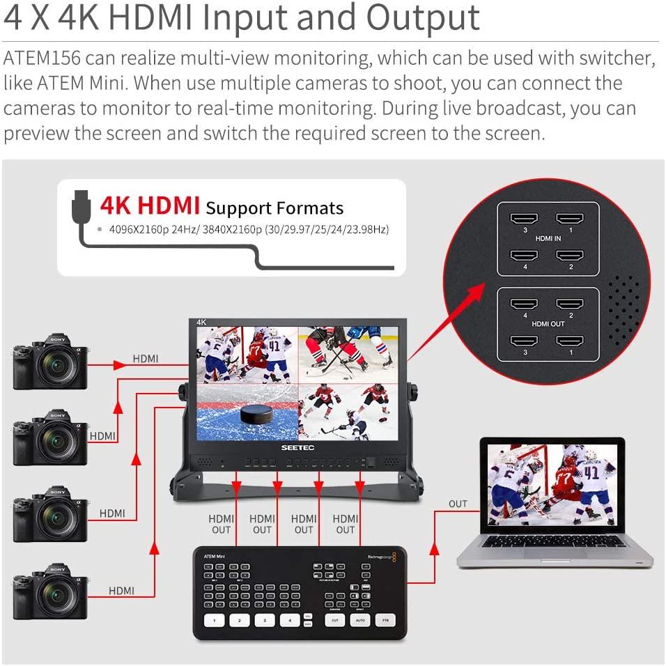 "SEETEC ATEM156 15.6"" 4 HDMI Quad Split Display Monitor"